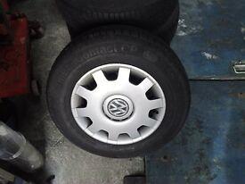 vw mk 4 steel wheels + wheel trims
