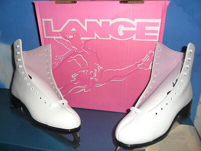 Lange/Bauer Classic White Womens Size 9 US Ice Figure Skates With Skate Bag NEW
