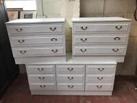 3 chests of drawers in white