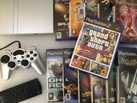 Silver SONY PS2 Slim Console + Controller + 12 Games inc GTA + All Leads - Full Working Order