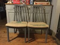 Shabby chic vintage dining chairs x 2