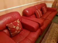 Italian Red Leather 3 Seater Sofa and Armchair including pillows total RRP £3000 - open to offers