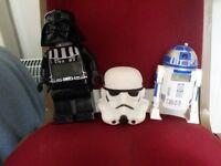 Star wars, toys, lego darth Vader alarm clock, r2 d2 alarm clock and stormtrooper mood light
