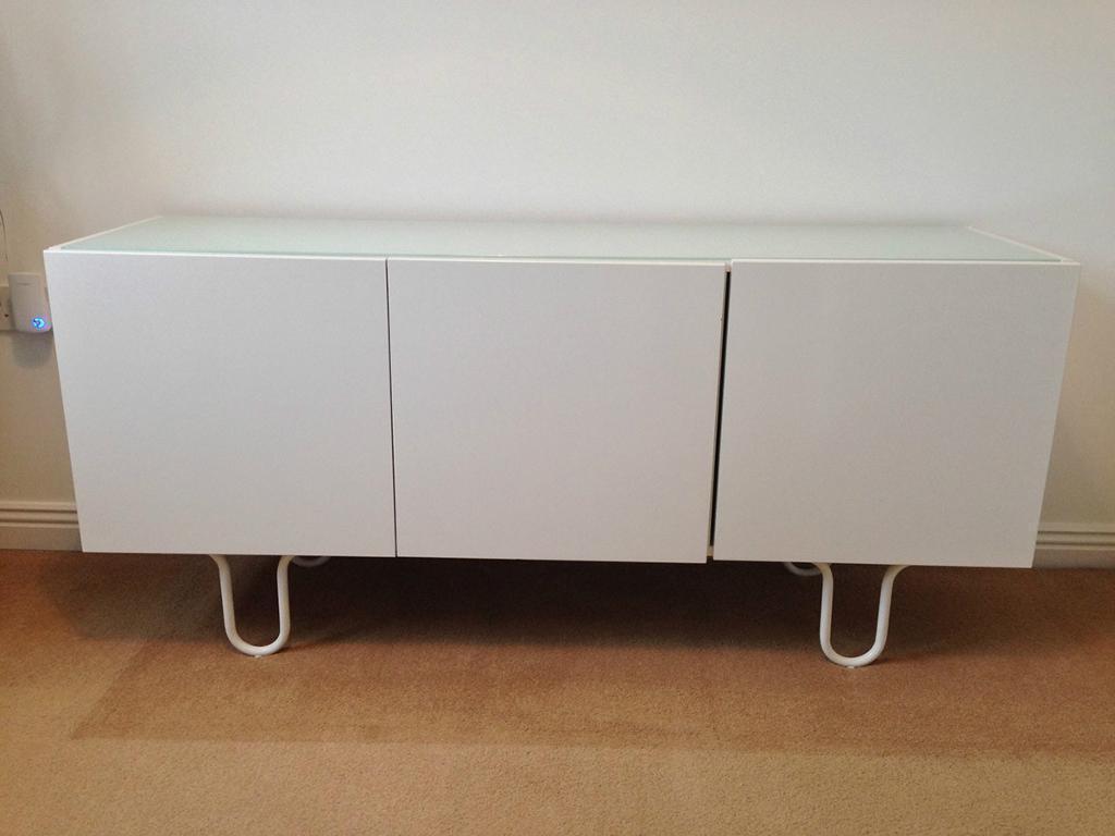 Tv board ikea  IKEA White Gloss Finnby Sideboard Cabinet Side Board TV Stand | in ...