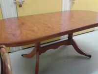 Regency dining table,Yew wood,bronze castor,extendable,stable,160-215cm