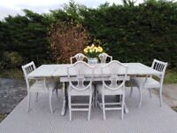 Stunning Dining Table & 6 Chairs. Extends to 7ft! Shabby Chic,Paris Grey. Delivery Available.
