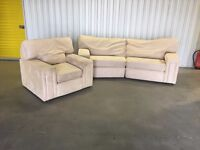 2 + 1 curved cream suede sofa and chair - very good condition // free delivery