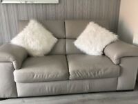 Leather 2x2 seaters and footstool