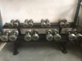 Cast iron dumbbell set with rack