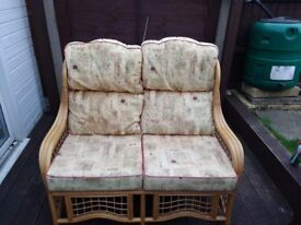 Cane furniture two seater sofa