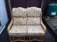 Cane furniture two seater sofa