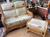 Conservatory settee and foot stool.