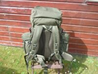 Snugpak Bergan Military type rucksack 100ltr with side pouches.