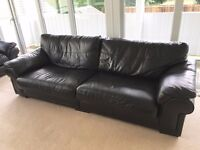 2 Black Leather Sofas, Very good Condition, Large 4 Seater and Electric Recliner, Like New, Must See
