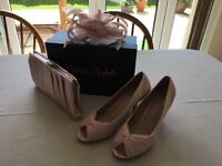 Size 7 Phase Eight shoes, Confetti Pink. Matching clutch bag and fascinator. Worn once.