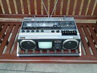 Hitachi K-62L TV FM/MW/LW stereo radio cassette recorder.