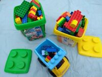 Lego Duplo - two boxes and one vehicle