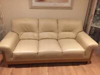 Cream leather sofa (3seater/2seater&chair)