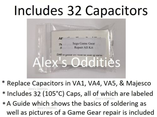 Repair All Sega Game Gear Capacitor Replacement Kit no or low sound & Dim Screen