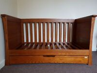 Nearly new, Mamas & Papas Ocean cot bed in mid oak. Has underbed drawer. Easy assembly