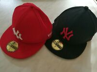 New Era 'NY' caps - size 7 - in Red and Black