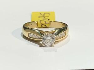 #180 BEAUTIFUL 14K YELLOW& WHITE GOLD DIAMOND ENGAGEMENT RING .65CT TOTAL *SIZE 5 1/4* APPRAISED @ $4950 SELL FOR $1695!