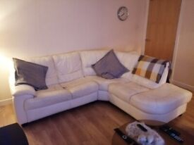 White Leather Corner Sofa with storage Ottoman foot rest to match