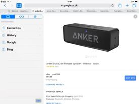 ANKER Bluetooth spear for sale perfect condion and great sound bargain 20