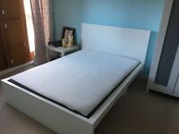 Ikea Malm Double Bed and Mattress