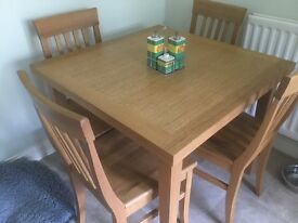 John Lewis extending oak table and 4 chairs