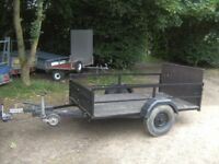 TRAILER 6X4 APPROX GOODS/TRANSPORTER FULLY BRAKED WITH RAMPTAIL..