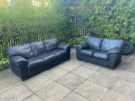 Brown leather 3&2 seater leather sofas- can be delivered