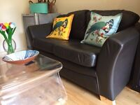 Leather 2 Seater Sofa - Chocolate Brown