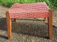 Mid Century WOVEN Arts & Crafts red white FOOT STOOL / REST Retro Shabby Chic Nylon Wool Solid Wood