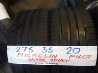 MATCHING PAIR 275 35 20 MATCHING MICHELINS 6MM TREAD £100 PAIR SUP & FITD (loads more av}OPN FRI 5PM