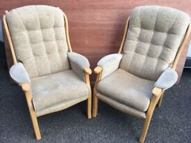 2 Straight back arm chairs - beige colour