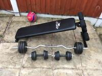 Sit Up Bench with 50kg Cast Iron Weights Set. Can deliver