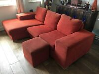 3 seater corner sofa & chair
