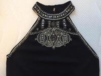 Embellished Black Silky Knit Halter Neck Top