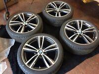 "Like new BMW 19"" 3/4 series msport double spoke alloys Bridgestone run flat tyres"