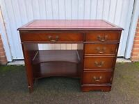 Chesterfield style Writing Desk Computer Desk with Red Leather Top Inlay