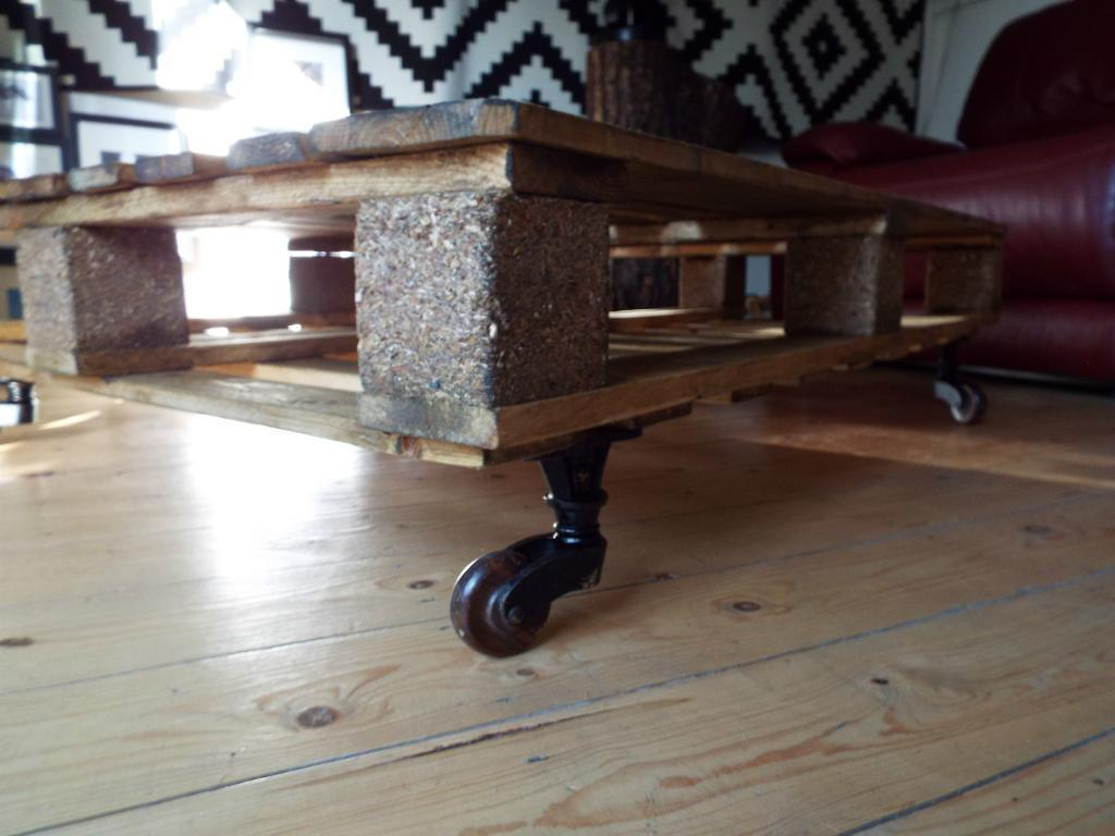 Pallet coffee table industrial coffee table coffee table for Industrial wood coffee table with wheels