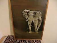 KINGS LYNN- LARGE FRAMED AFRICAN ELEPHANT OIL PAINTING