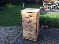 Charming Solid Pine Tall Boy Chest Of Drawers