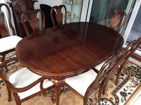 Attractive solid Victorian extending dining set Table & 8 Chairs & Cover