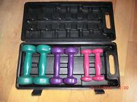 Barbell dumbells - boxed set of 6 coloured dumbells: 0.5kg, 1kg and 1.5kg