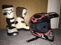 Kids white Alpinestar motocross boots size 4/ kids large nitro mx helmet