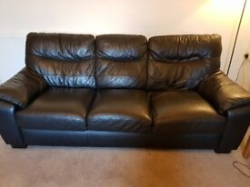 2 x 3 seater black leather sofas