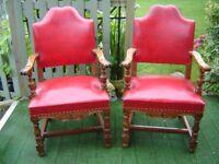Pair mid 20c American Walnut armchairs