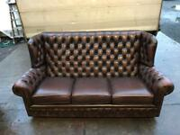 Stunning brown leather chesterfield highback wingback 3 seater sofa UK delivery